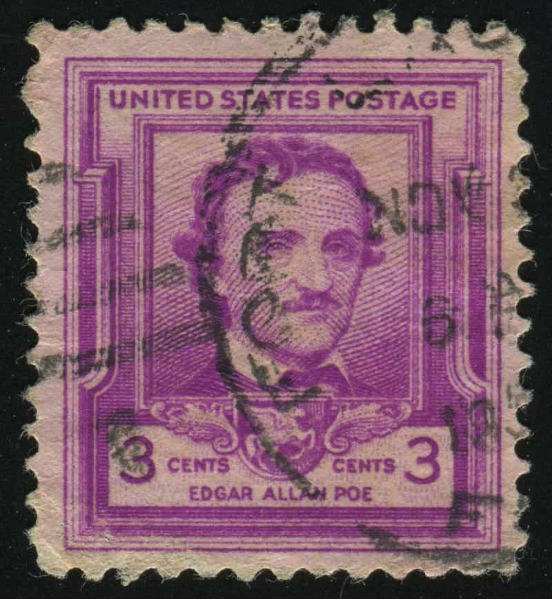 Senas JAV pašto ženklas, išleistas E. A. Poe garbei.